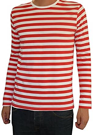 new mens alternative apparel red and white riviera striped t-shirt size large see more like this Tiger Woods Red And White Striped Dri Fit Polo Shirt Mens Size Medium Golf Pre-Owned.