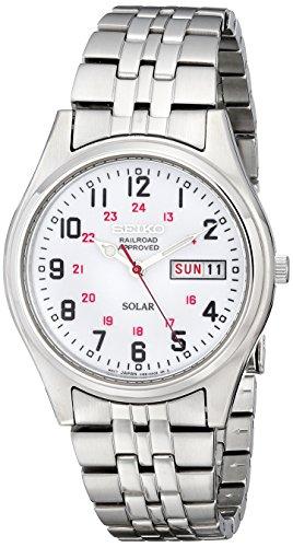 Seiko Men's SNE045 Solar White Dial Watch
