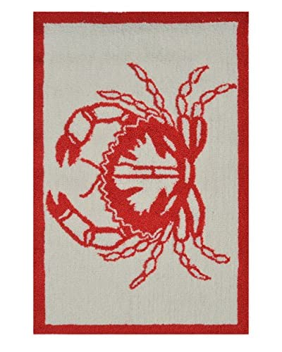 Pop Accents Crab Indoor/Outdoor Scatter Rug, Red/White, 22 x 34