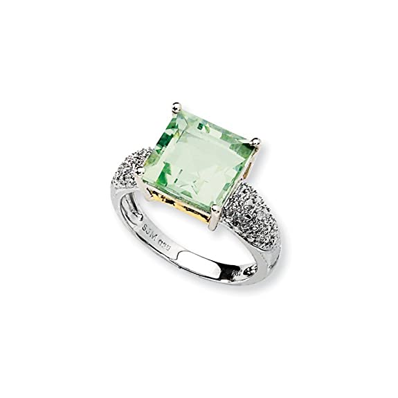 Sterling Silver & 14K Green Quartz and Diamond Ring
