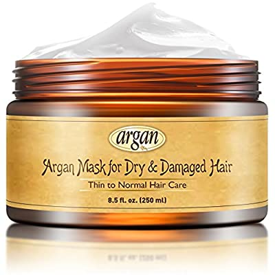 Best Deep Conditioner Hair Mask - Thin to Normal Hair Treatment - Natural Moroccan Argan Rich Mask 8.5 oz for Dry or Damaged Hair - Long Lasting Conditioning Hair Restorative Deep Repair Thin Hair Nourishment