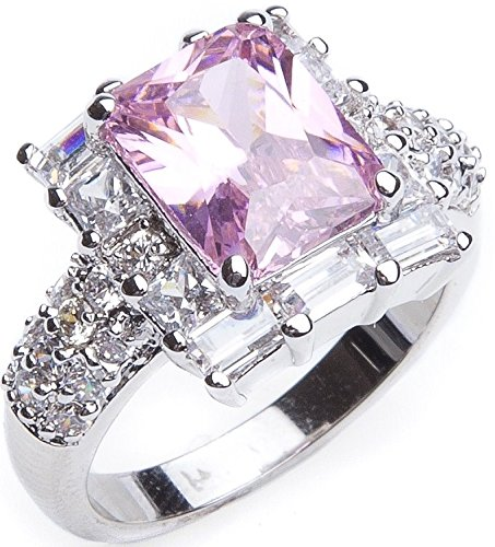 A Gorgeous Girly 2.40CT Designer Ice Pink Ring Accented With 10 Swarovski 8mm Baguette Clear Crystals Elements. Made In Heavy Rhodium Electroplate. Outstanding Quality, High End Jewellery.