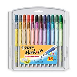 BIC Mark-It color collection permanent marker, Fine Point, Assorted Colors, 36 Markers