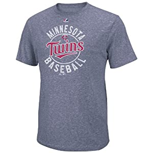 MLB Majestic Minnesota Twins The Big Time Fashion Tri-Blend T-Shirt - Navy Blue by Majestic