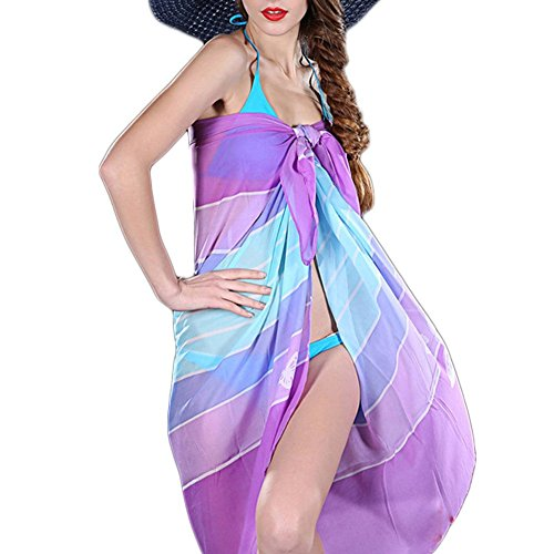 DELEY Donne Sexy Chiffon Pareo Abito Sciarpa Costume Da Bagno Bikini Coprire Prendisole Spiaggia Indossare Colore 9