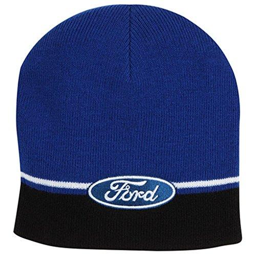 Genuine Ford Striped Knit Beanie Winter Cap Hat - Blue/Black/White