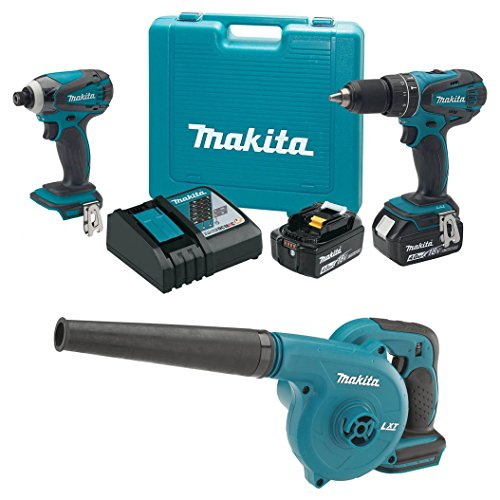 Makita 18V Cordless Combo Kit Drill and Driver + 18V Cordless Workshop Blower (Makita Blower Kit compare prices)