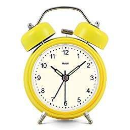 3 inches Non-ticking Silent Quartz Bedside Twin Bell Alarm Clock with Nightlight and Noctilucent Pointer, 9012050mm, yellow