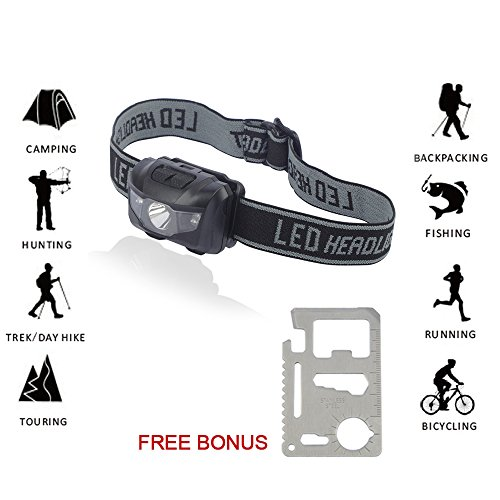 [Brightest & Lightest] LED Headlamp Flashlight Waterproof - 5 Modes(White