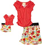 Dollie & Me Girls 7-16 Short Sleeve Ruffle Top With Ruffle Skirt