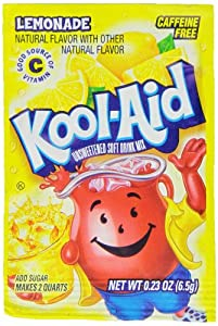 Kool-Aid Lemonade Unsweetened Soft Drink Mix, 0.23-Ounce Packets (Pack of 96)