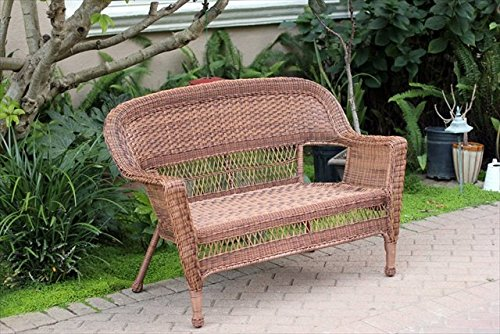 Jeco Honey Wicker Outdoor Love Seat