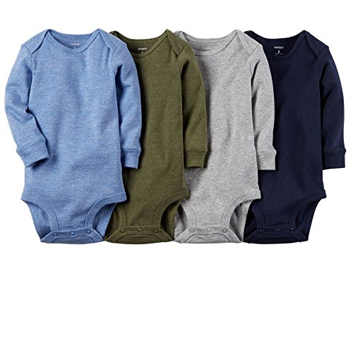 Carter's Baby Boys 4-pack Long-sleeve Bodysuits (3 months, solids)
