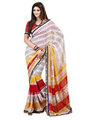 Indian Designer Sari Amiable Traditional Printed Faux Georgette Saree By Triveni