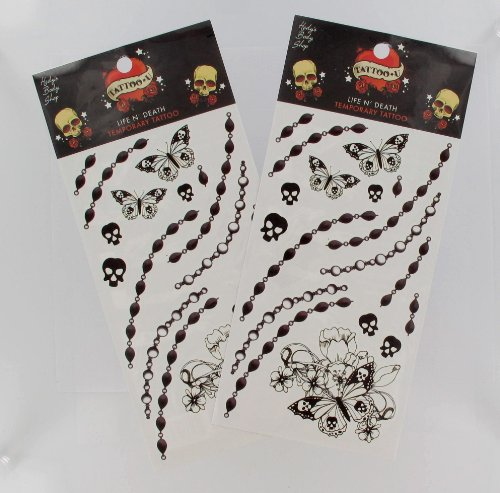 2 Sheets of Halloween Butterflies, Skulls, and Beads Temporary Tattoos - 1