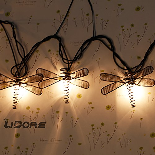 LIDORE Set of 10 Metal Dragonfly Patio String Light. Ideal For Indoor/Outdoor Decoration. Warm White Glow. 3