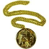 NEW LARGE GOLD MEDALLION 70'S RETRO FANCY DRESS PIMP