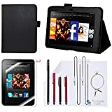 The Friendly Swede (TM) PU Leather Case Cover Bundle for Kindle Fire HD 7 Inch in Retail Packaging (NOT Compatible With Kindle Fire HD 7 2013 Release) (Black)