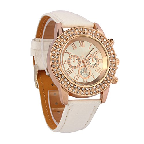 Bocideal Vogue Women Ladies Fashion Crystal Dial Quartz Analog Leather Bracelet Wrist Watch