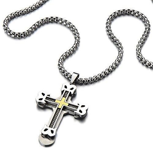 grand croix pendentif collier homme acier inoxydable couches doubles couleur argent or. Black Bedroom Furniture Sets. Home Design Ideas