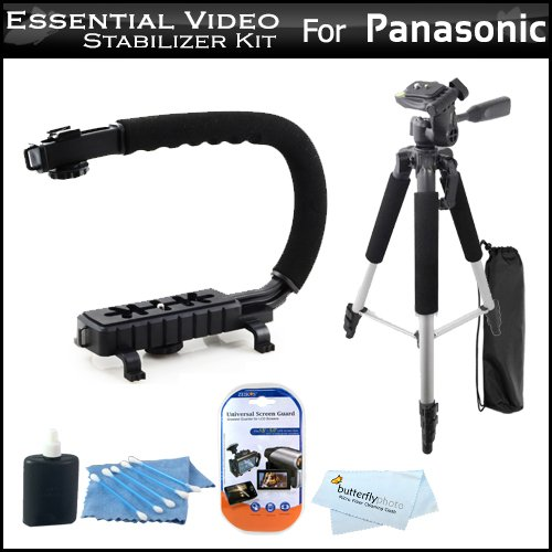 Essential Video Stabilizer Kit For Panasonic Hdc-Sd800K Hd Camcorder Includes Axis-G Camcorder Action Stabilizing Handle + 57 Full Tripod W/Case + Lcd Screen Protectors + 3Pc Cleaning Kit + Microfiber Cloth