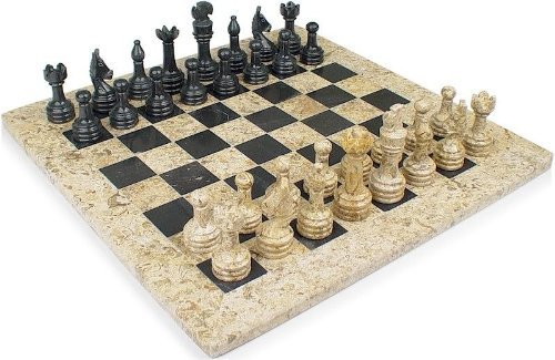 Other toys 12 fossil black marble stone chess set comes in velvet gift box size suitable - Granite chess set ...