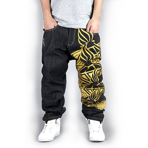 Generic Men'S Hip Hop Street Style One Leg Graphic Painting Unwashed Baggy Jeans 38 Black