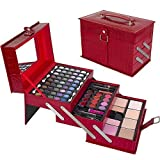 Ivation All-In-One Makeup Kit in Highly Fashionable Red Leather-look Train Case by Ivaton