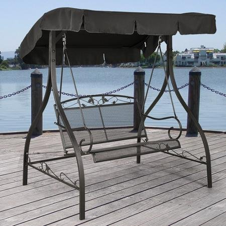 Outdoor Porch Swing Deck Furniture with Adjustable Canopy Awning - Clearance SALE! Weather Resistant Wrought Iron Metal Frame. Similar to A Porch Glider the Bench Provides Spacious Chair Seating for 2.