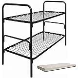 SET Stahlrohr Etagenbett mit Matratze 190x80 Erntehelfer Bett Container Bett Bauwagen Bett Unterkunfts Bett 710815