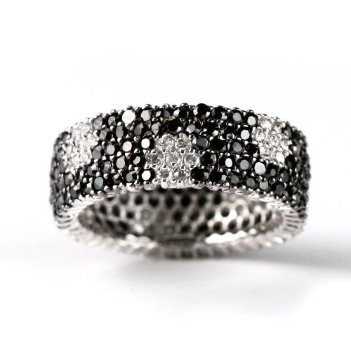Black and White CZ Eternity Band Ring