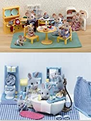 Calico Critters Kozy Kitchen Master Bathroom 2 Sets