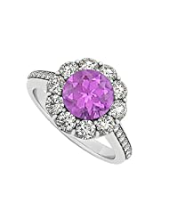 925 Sterling Silver February Birthstone Amethyst And Cubic Zirconia Halo Engagement Ring