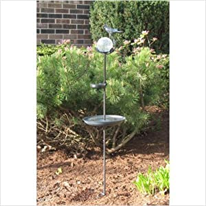 Click to read our review of Smart Solar Aquarius Birdbath Solar Stake with Glass Orb