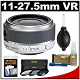 Nikon 1 11-27.5mm f/3.5-5.6 VR Nikkor-Zoom Lens (White) with 3 UV/CPL/ND8 Filters + Accessory Kit for J1, J2 & V1 Digital Cameras