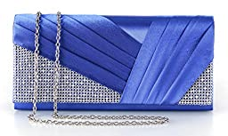Yuenjoy Womens Shiny Crystal Rhinestone Pleated Satin Evening Clutch Bags (Blue)