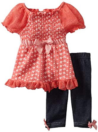 Little Lass Baby-Girls Infant 2 Piece Capri Set with Bow, Coral, 18 Months