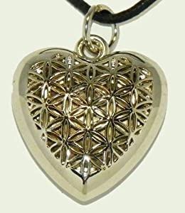 Flower of Life Heart Locket Polished Silver Finish on 24