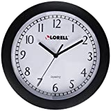 Lorell Wall Clock with Arabic Numerals 9-Inch White Dial/Black Frame
