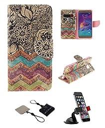 Samsung Galaxy Note 5 Wallet Case , Castle Cas [Wave Flower] Duplex Design Flip Card Slot Slim Fit Magnetic Premium Polyurethane Leather TPU Cover Case With Car Mount Phone Holder - Color