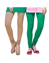 TSG Breeze Cotton Churidar Leggings-Pack Of 2- Fawn & Pak. Green Colour (Free Size)