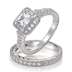 Bling Jewelry .925 Silver Princess Brilliant Cut CZ Vintage Style Engagement Wedding Ring Set - Size 6