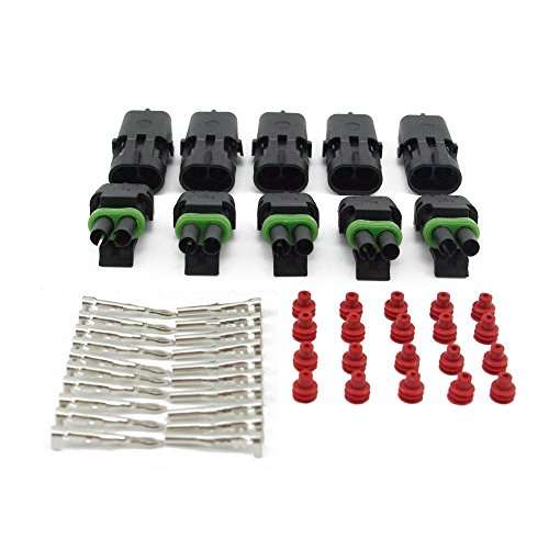 Yiding 5 Set 1.5Mm 2 Pin Way Waterproof Vehicle Electrical Wire Cable Connector Plug 5 Kits