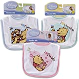 Winnie the Pooh with Applique Baby Bib (I Love Mom, I Love Grandma, I Love Daddy) (Blue - I Love Mom)
