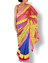 Royal Blue Half And Half Saree With Multicolor Embroidery Pallu