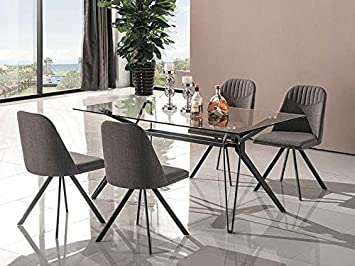 7-teilig Essgruppe 'Tivoli'160x90 Esstisch Esszimmertisch Metallgestell Grau Tisch