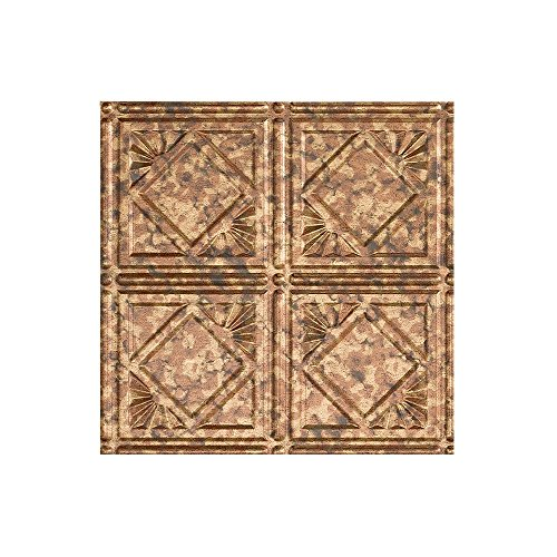 Fasade - 2ft x 4ft Traditional 4 Cracked Copper Glue Up Ceiling Tile / Ceiling Panel - Fast and Easy Installation (12