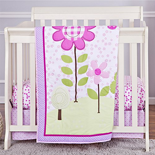 Dream On Me 3 Piece Reversible Portable Crib Bedding Set, Spring Garden - 1