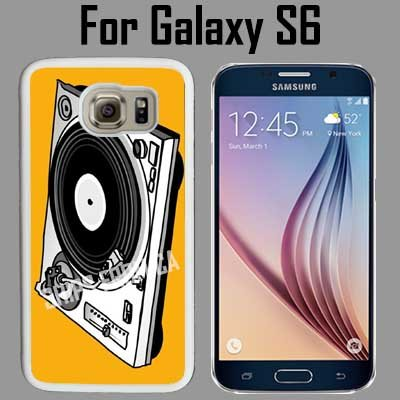 DJ Turntable Cat Custom Case/ Cover/Skin *NEW* Case for Samsung Galaxy S6 - White - Rubber Case (Ships from CA) Custom Protective Case , Design Case-ATT Verizon T-mobile Sprint ,Friendly Packaging - Slim Case INNOSUB®Case