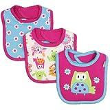 Lamaze Baby-Girls Newborn 3 Pack Cat Interlock Bib
